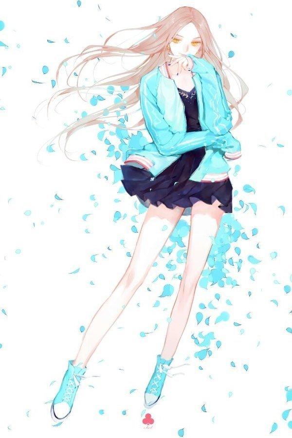 运动外套超短裙卡通美少女头像图片 女生头像-第1张